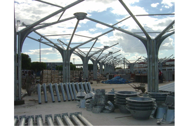 A rigid tubular steel space frame